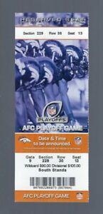TIM TEBOW 2011 NFL AFC WILD CARD STEELERS @ DENVER BRONCOS FULL UNUSED TICKET