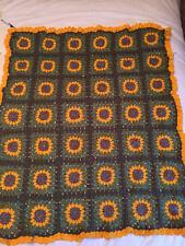 """Afghan Crochet Sunflower Baby / Stroller / Pram / Lap Blanket - 33"""" x 38"""""""