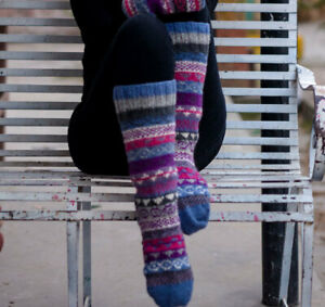 Light Blue Multicolored Pure Woolen Knee High Socks