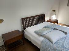 bedroom set queen 7 piece modern room & board brown wood asian beautiful