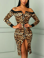 US Women Sexy Off Shoulder Leopard Bodycon Long Sleeve Party Cocktail Mini Dress