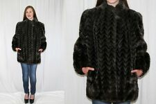 Vintage 60s MOD Chocolate White Tip CHEVRON Stripe Retro Faux FUR Boho Coat M