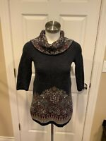 Moth Anthropologie Navy Blue Sweater w/ Floral Cowl Neck, Size XS
