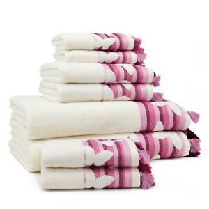 Butterfly 8 Pieces Bath Towel Set (2 Bath Towel, 2 Hand Towel, 4 Washcloth)