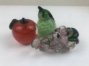 Murano glass fruit grapes apple pear colored glass set of 3