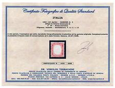 REGNO 1862 IL PRIMO DENTELLATO 40 c. rosso (PO 63) Certificato