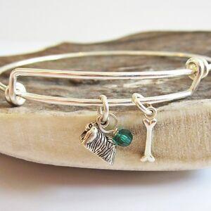 """Pekingese Mini Bone Stackable Bangle Bracelet, Dog Charm(2.5""""-3"""")-Free Shipping"""
