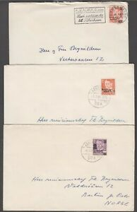 Denmark 1958-60 . 3 covers to Norway franked with surcharged stamp.