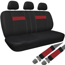 Car Seat Cover Red Black 8pc Set Bench for Auto Belt Pad/Detachable Head Rest