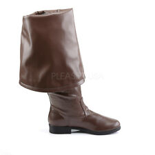 Black Pirate Captain Fold Over Mens Cuffs Boots Thigh High Costume 10 11 12 13