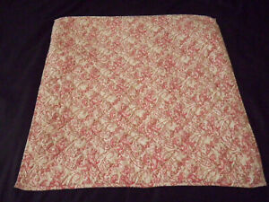 Pottery Barn Euro Sham Paisley Floral Red Light Yellow Tie Close Quilted