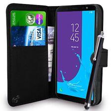 Étui portefeuille noir cuir pu housse pour Samsung Galaxy J4/J6 2018 portable