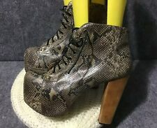 Jeffrey Campbell Beige Leather Snake Look Lita -Ex Boots Sz 8M EUC