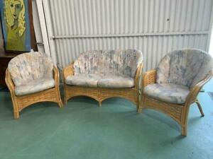 H42018 Wicker Cane Bamboo Lounge Suite Sofa Armchairs Chairs