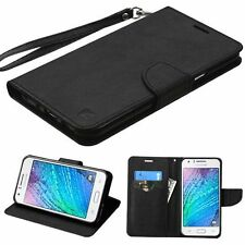 For Samsung Galaxy J7(2015) Black Leather Fabric Case w/stand Lanyard