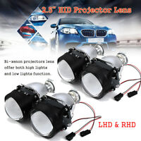 2x LHD RHD 2.5'' HID Bi-Xenon Projector Headlight Len Bulb Shroud Hi/Lo H1 H4