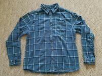 EUC Prana Breathe Men's Flannel Shirt Heavy Cotton Color Blue Plaid Size XL