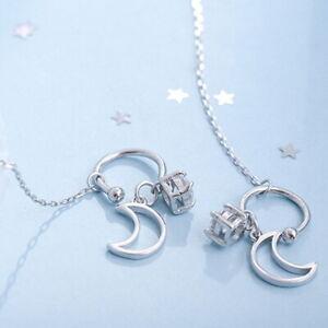Fashion Hollow Moon Long Tassel Copper Stud Earring Women Drop Dangle Jewelry