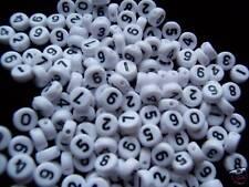 100pcs Flat Round White Mixed Numbers Acrylic Beads 7mm
