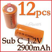 12 SubC Sub C 2900mAh NiMH Rechargeable Battery Tab O