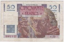 BILLET 50 FRANCS LE VERRIER H 31 5 1946 H 08112 C 32