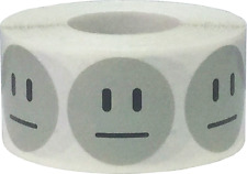 Grey Circle Apathetic Face Stickers, 1 Inch Round, 500 Labels on a Roll