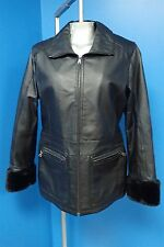 07267 Jessica Casual Black Leather Zip Women's Coat with Faux Fur Cuffs Sz M