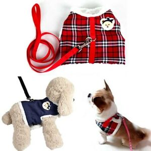 Small Pet Dog Fleece Warm Padded Harness Vest Puppy Cat Walking Leash Collar