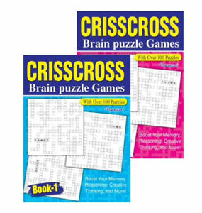 Set of 2 x CrissCross Brain Puzzle Crossword Games 200 Puzzles Books 1 and 2