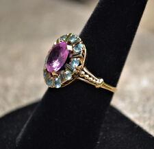 #7003 - Fabulous 14k Gold - Pink & Blue Topaz - Cocktail Ring
