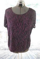Briggs NY Black Purple Glitter Dots Stretch Short Sleeve Blouse Top - Size 3X