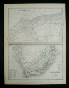 Antique Map: North-West Africa & South Africa by Alexander Keith Johnston, 1884