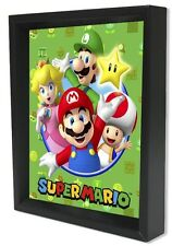 SUPER MARIO-CAST8x10 3D SHADOWBOX WALL DECOR VIDEO GAME NINTENDO LUIGI PRINCESS!