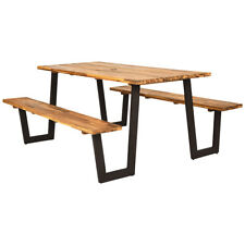 Picnic Table Bench Set Outdoor Camping Wooden 2 Built-in Benches w/Umbrella Hole
