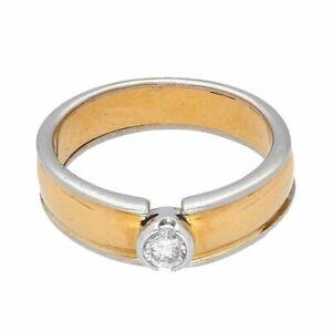 18Carat Yellow & White Gold 0.15ct Bezel Diamond Solitaire Band (Size I 1/2)