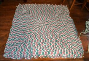 Vintage Hand Knitted Afghan Pink Teal Blue 64 X 64 inches