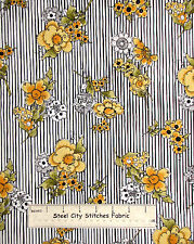 Loralie Designs Bee Happy Yellow Flower on Black White Stripe Cotton Fabric YARD
