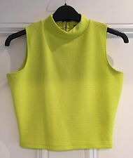 RIVER ISLAND CROPPED SHORT NEON GREEN PARTY SUMMER HOLIDAY TOP 6 EU 32 WORN ONCE