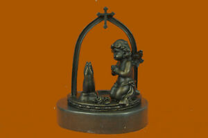 Praying Angel Putti Bronze Sculpture Handcrafted 100% Pure Home Office Decor