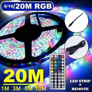 Tira Luces LED RGB Multicolor Cinta 5M 10M 20M Navidad, TV, Habitación+Control R