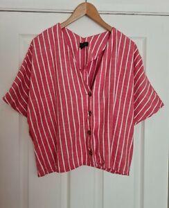 Ladies TOPSHOP Pink Red Stripy Cotton Linen Tunic Shirt Blouse Top Size 16