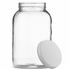 1-Gallon Clear Glass Large Jar Wide Mouth with Airtight Metal Lid For Fermenting
