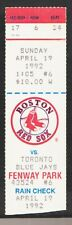 Toronto Blue Jays Boston Red Sox 1992 Ticket Wade Boggs Roberto Alomar Winfield