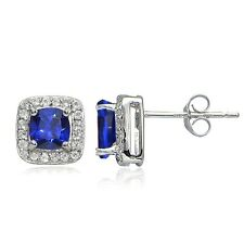 925 Silver 2.1ct Created Blue Sapphire & White Topaz Cushion-Cut Stud Earrings