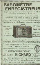 PARIS RUE MELINGUE PUBLICITE BAROMETRE ENREGISTREUR JULES RICHARD