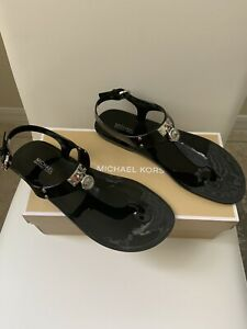 MICHAEL KORS Womens Black Jelly Thong Ankle Strap Sandals Silver Logo Sz 7