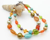 925 Sterling Silver Multi-Color Gemstone 2-Strand Beaded Toggle Bracelet 7.5""