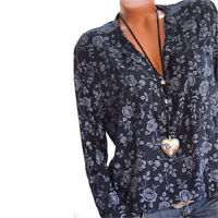 Plus Size Women's Boho Floral Long Sleeve Blouse Baggy Tops V Neck T Shirt S-5XL