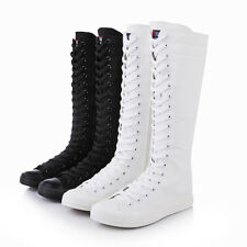 Knee High Sneakers Punk Canvas Calf Fashion Shoes Comfy Womens Lace Boots Up