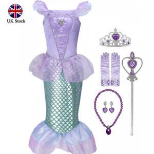 Girls Cute Mermaid Cosplay Costume Kids Party Birthday Fancy Dress Accessories